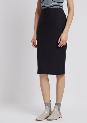 1af9d033f5 Emporio Armani Pencil Skirt In Virgin Wool With Slit