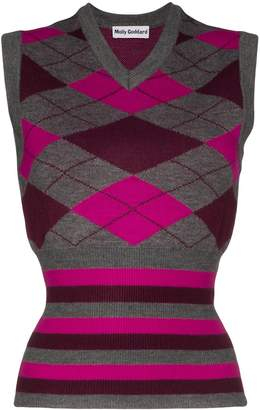 Molly Goddard Greta sleeveless argyle knit vest