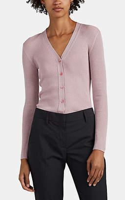 Prada Women's Metallic Wool-Blend Rib-Knit V-Neck Cardigan - Pink