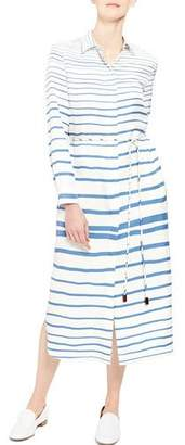 Theory Striped Button-Front Long-Sleeve Belted Shirtdress