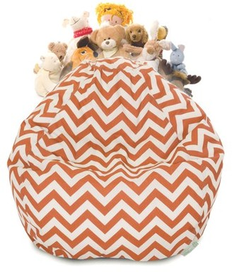 Majestic Home Goods Chevron Stuffed Animal Storage Bean Bag Chair Cover w/ Transparent Mesh Base, Multiple Colors