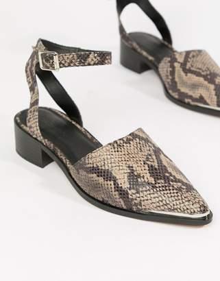 Asos DESIGN Mamba pointed flat shoes in snake