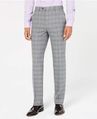Sean John Men's Classic-Fit Stretch Light Gray Plaid Suit Pants