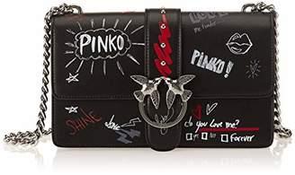 Pinko Love Graffiti Tracolla Vitello Seta, Women's Shoulder Bag,9x20x28 cm (W x H L)
