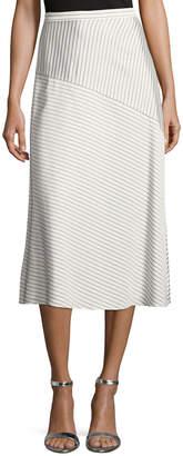 St. John Narrow Stripe Twill Midi Skirt