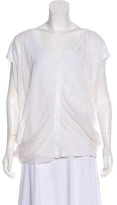 Elizabeth and James Short Sleeve Silk-Paneled T-Shirt
