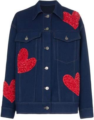 House of Holland x THE WOOLMARK COMPANY oversized embellished heart jacket