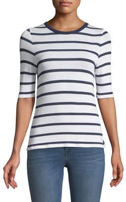 3x1 Crewneck Short-Sleeve Twist-Back Striped Tee