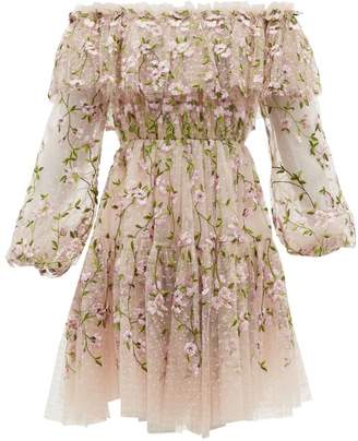 Giambattista Valli Floral Embroidered Tulle Off The Shoulder Dress - Womens - Pink Multi