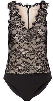 Alice + Olivia Alice Olivia - Primrose Leavers Lace And Jersey Bodysuit - Black $285 thestylecure.com