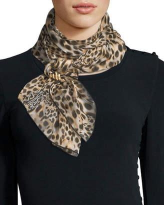 Roberto Cavalli Woven Python-Print Silk Scarf, Sand