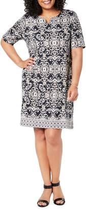 Karen Scott Plus Printed Cotton Blend Dress