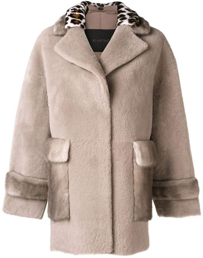 Blancha leopard trim coat