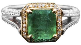 18K Two Tone Gold Colombian Emerald & Pave Diamond Ring Size 6.5