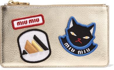 Miu MiuMiu Miu - Appliquéd Metallic Textured-leather Pouch - Gold