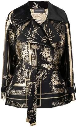 Alberta Ferretti foil print wrap coat