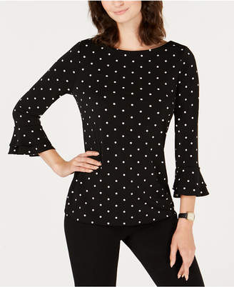 Charter Club Dot-Print Double-Ruffle Cuff Top