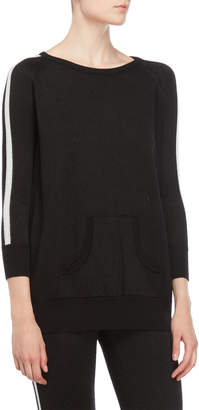 Atos Lombardini Black Metallic Side Stripe Pullover