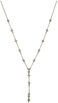 "Judith Ripka 14K Gold Gemstone & Diamond ""Y"" Necklace"