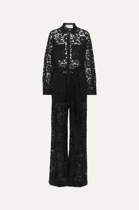 Valentino Belted Corded Lace Jumpsuit - Black