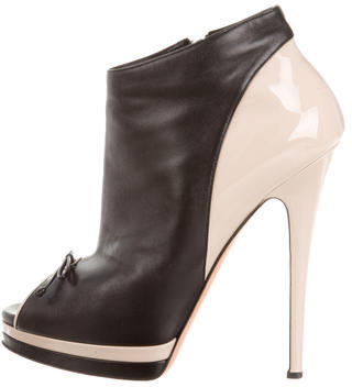Casadei Leather Peep-Toe Booties $175 thestylecure.com