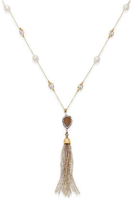 Paul & Pitu Naturally 14k Gold-Plated Multi-Stone and Cultured Freshwater Pearl Tassel Pendant Necklace