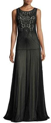 Alice + Olivia Sleeveless Beaded Tulle Gown, Black $1,295 thestylecure.com