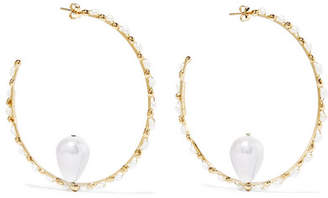 Rosantica Ginger Gold-tone Pearl Hoop Earrings - White