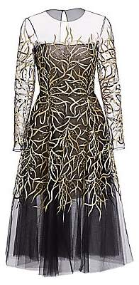 Oscar de la Renta Women's Embroidered Illusion Tulle Dress