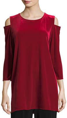 Caroline Rose Stretch Velvet Cold-Shoulder Tunic, Petite