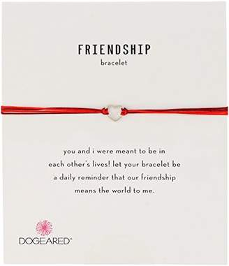 Dogeared Friendship Small Open Heart with Mix String Sterling Silver Bracelet