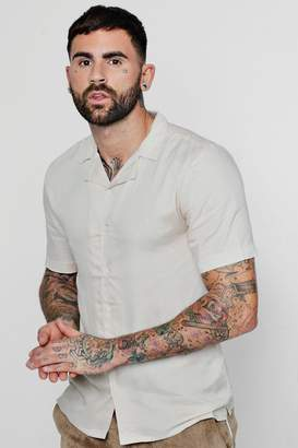 boohoo Short Sleeve Viscose Revere Collar Shirt