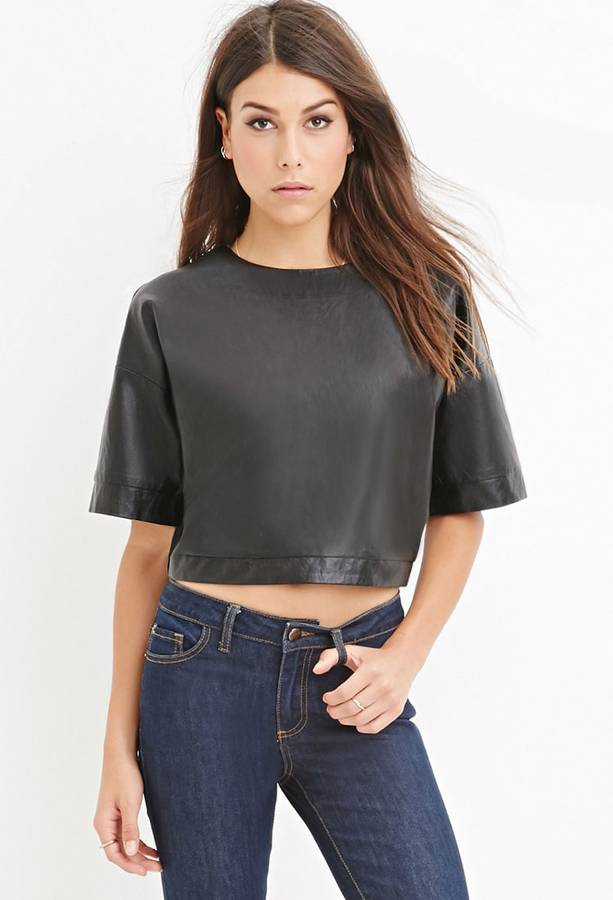 FOREVER 21+ Faux Leather Boxy Top