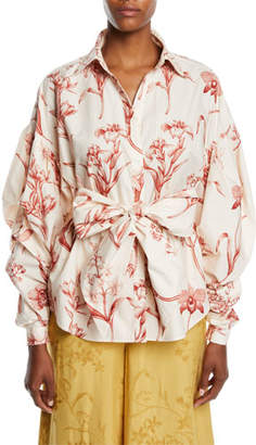 Johanna Ortiz Rushcutters Bay Pouf Long-Sleeve Lily-Print Cotton Poplin Shirt