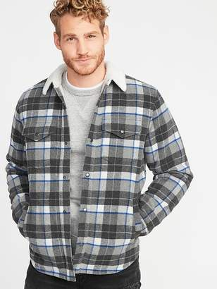Old Navy Plaid Wool-Blend Sherpa-Lined Shirt Jacket for Men