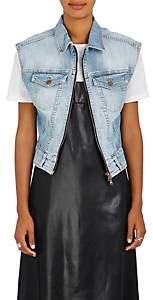 Fiorucci Women's Drew Embroidered Denim Crop Vest-Lt. Blue Size M