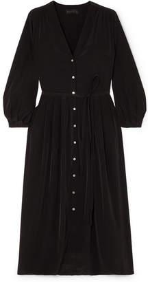 Hatch Tori Pleated Crepe De Chine Midi Dress - Black