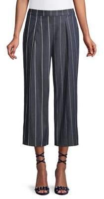 Donna Karan Striped Wide-Leg Cropped Pants