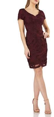 JS Collections Soutache Mesh Sheath Dress