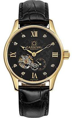 Carnival Topwatch ®カーニバル39 mm Tourbillonダイヤル自動Mechanical Watches中空ブラック
