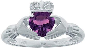 JCPenney FINE JEWELRY Heart-Shaped Genuine Amethyst and Diamond-Accent Sterling Silver Claddagh Ring