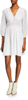 Jill Stuart V-Neck Puff-Sleeve Eyelet Cotton Dress