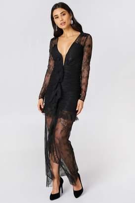 For Love & Lemons Daisy Lace Midi Dress Black
