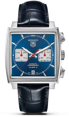 "Tag Heuer Monaco"" Square Watch with Alligator Strap, 39mm"