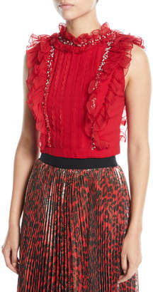 Alice + Olivia Gwen Embellished Cropped Pin Tuck Ruffle Blouse