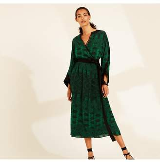 Amanda Wakeley Emerald Printed Paisley Wrap Dress