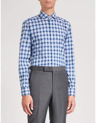 BOSS Checked slim-fit cotton shirt