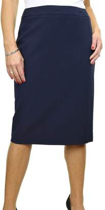 Ice 2547-2) Smart Knee Length Office Skirt Fully Lined Washable Navy