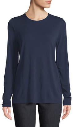 Eileen Fisher Crewneck Stretch Silk Jersey Top, Petite