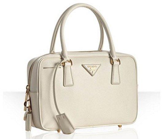Prada white saffiano leather small boston bag